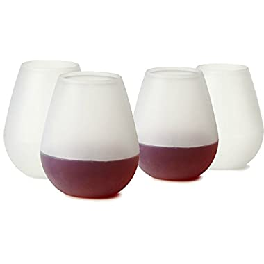 Backpacker's Unbreakable Silicone Wine Glasses or Camping Cups - Set of 4