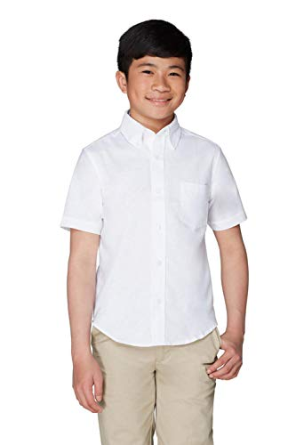 French Toast Big Boys' Short Sleeve Oxford Dress Shirt, White, 12 by French Toast