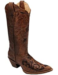 CORRAL Womens Fango Goat Sequin Inlay Cowgirl Boot Pointed Toe - C2668