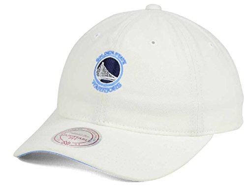 (Mitchell & Ness NBA White Slouch Washed Cotton Dad Hat (Adjustable, Golden State)