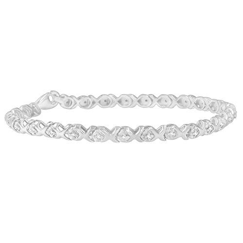 Original Classics 14K White Gold Round-Cut Diamond Bracelet with X-Link (1/4 cttw, J-K Color, I2-I3 Clarity) -  VJG, 60-2590