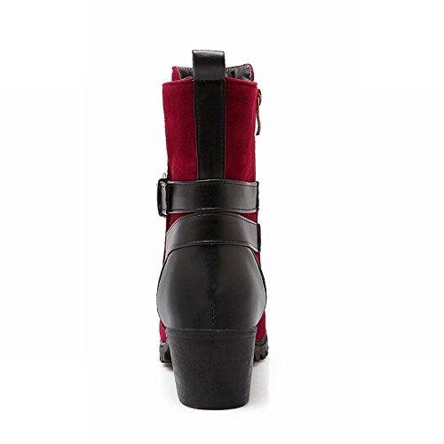 Karambout Dames Gesp Rits Mode Eenvoudig Casual Mid Hak Korte Laarzen Rood