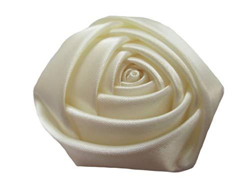YYCRAFT Pack of 20 Satin 4d Rose Flower 2 1/2(6.5cm) Craft Wedding Bride-Ivory
