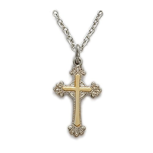 Cross Budded Tone (Sterling Silver 2-Tone Budded Cross Pendant with Scroll Ends, 5/8 Inch)