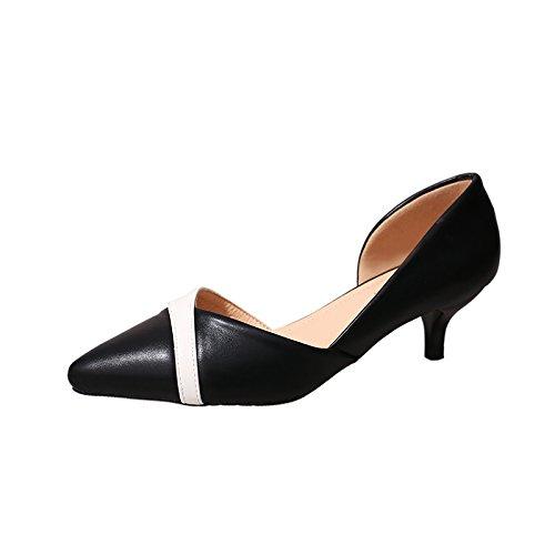 Gaolim Petits Pieds talons hauts Femme 3334, Attaqué aussi Bas que 3cm Root Toe-side Air Filles Chaussures de Singles pour femme, Noir , 40