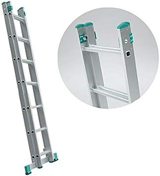 Escalera deslizante extensible con 2 planos, color gris, 7 escalones: Amazon.es: Bricolaje y herramientas