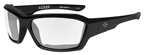 Harley-Davidson Men's Kicker Sunglasses, Clear Lens/Gloss Black Frame - Harley Sunglasses Wiley Davidson X