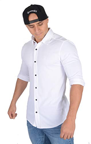 YoungLA Men's Dress Shirt Athletic Slim Fit Stretch Long Sleeve Bottom Down 415 White Large