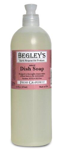 Begley's Natural Dish Soap, Fresh Grapefruit, 16 oz, Pack of 6