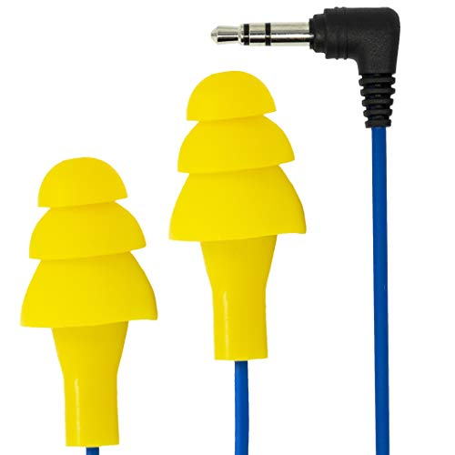 Plugfones Basic Earplug-Earbud Hybrid - Blue Cable/Yellow - Sb Racing