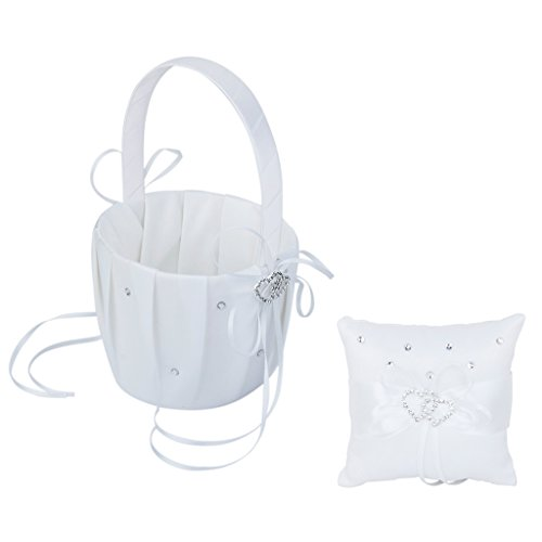 Bonlting Wedding Flower Girl Basket Double Heart Ring Pillow