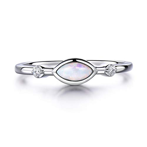 Marquise White Fire Opal Ring 925 Sterling Silver Birthstone Engagement Promise Ring Vintage Jewelry ()