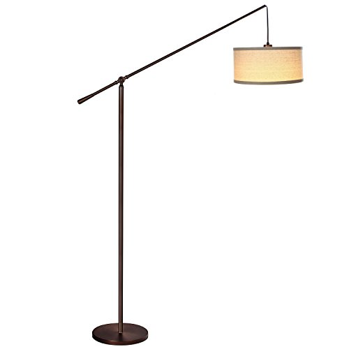 Brightech – Hudson Pendant Floor Lamp – Elevated Crane with Neutral Hue, Linen-Textured Shade – Adjust the Height of the Arm – includes Brightech's LightPro LED 9.5-Watt Bulb – Oil-Rubbed Bronze (Arc Floor Lamps Cheap)