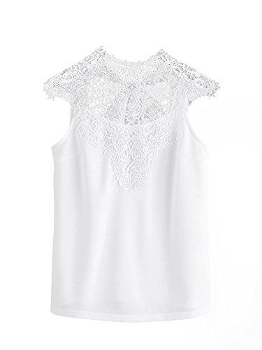 SheIn Women's Plain Lace Yoke Tie Open Back Sleeveless Blouse Top X-Small White