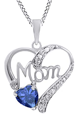 - Simulated Sapphire & White Diamond Accent MOM Heart Pendant Pendant Necklace in 925 White Gold Over Sterling Silver