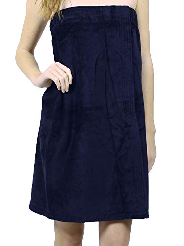 West LA Store Women Terry-Velour Towel Wrap for Spa, Pool, Shower, Bath, Gym, Navy