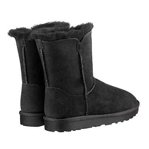 (KirklandSignature Ladies Genuine Sheepskin - Shearling Lining - Zipper Boots for Women Black (7))