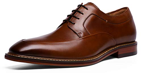 - DESAI Men's Oxford Full Grain Leather Dress Shoes Square Toe Lace-Up Derby (10 M US Brown)