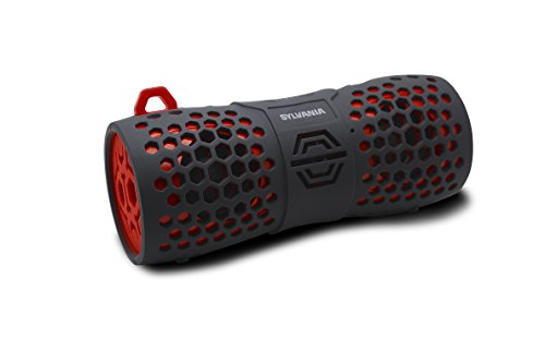 Sylvania SP353 Water Resistant BlueTooth Rugged Speaker, Black/Red (Renewed)
