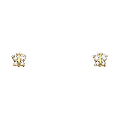 14k Yellow Gold Butterfly Stud Earrings with Screw Back ()