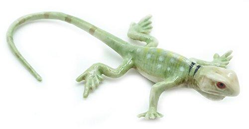 Grandroomchic Animal Miniature Handmade Porcelain Statue Green Lizard Chameleon Gecko Skink Figurine Collectibles Gift