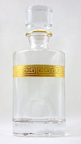 Denizli Spirits Whisky Bottle Handmade Crystal Decanter with 24K Gold Ornament, Lead Free (25 Oz, Greek (24% Lead Crystal Decanter)