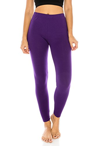 The Classic Women's Stretch Jersey Sports Yoga Full Length Leggings Pants Plus In Purple - X-Large