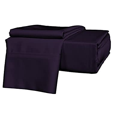 Brielle 630 Thread Count Egyptian Cotton Sateen Premium 600 Plus Sheet Set, Queen, Royal Purple