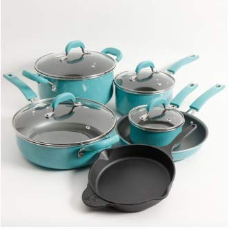 The Pioneer Woman Vintage Speckle 10-Piece Non-Stick Pre-Seasoned Cookware Set, Turquoise