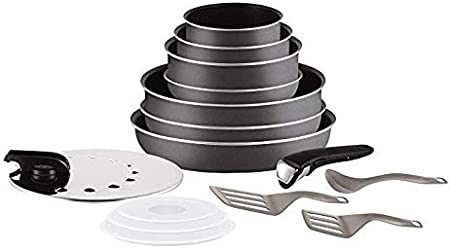 for All Heat Sources Except Induction Tefal Ingenio l2049602 Set of 10 Pcs Cookware Saucepan Pots and Pan Set Grey