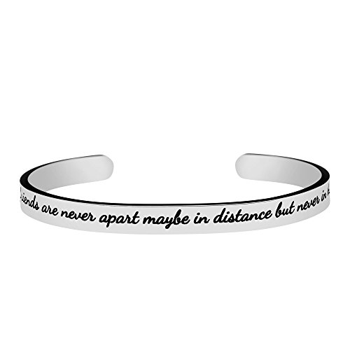 Joycuff Friendship Bracelets for Women Stainless Steel Cuff Bangle Inspirational Jewelry True friends are never apart maybe in distance but never in heart