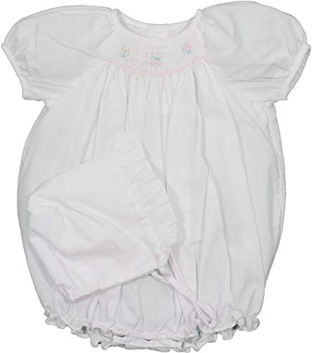 (Petit Ami Baby Girls' Hand-Embroidered Smocked Bubble with Pearls White,)