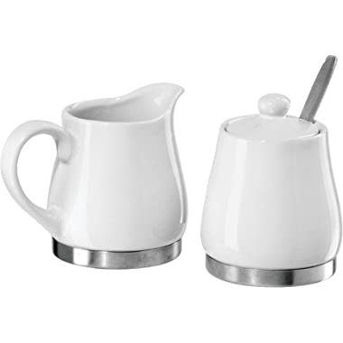 Oggi White Ceramic Stainless Steel Sugar and Creamer Set with Spoon