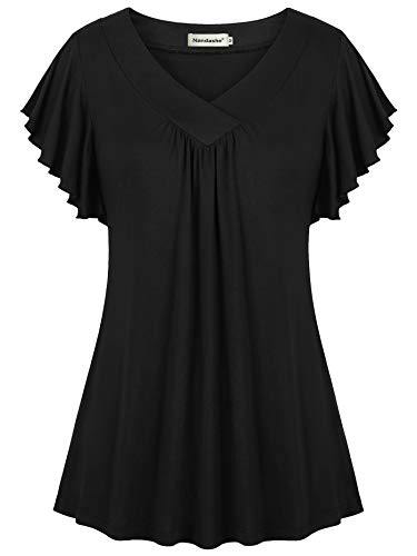 Nandashe Pleated Front Blouses for Women, Summer Petite 2018 Fashion Flying Sleeve Mandarine Collar Trend Knit Flare A-line Pure Color Plain Embellished Pullover Swingy T-Shirts Black Large - Knit Mandarin Collar