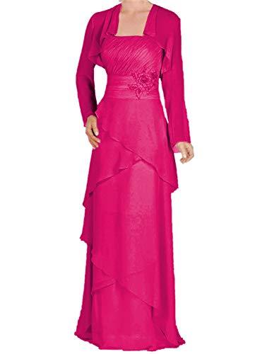 Mother of The Bride Dress Long Sleeve Mother Dress Evening Dress Fuchsia 14