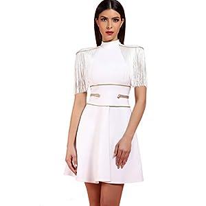 whoinshop Women's Rayon Bandage Bodycon Tassel Fringe Celebrity Dress