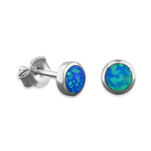 Sterling Silver Synthetic Blue Opal Circle Stud Earrings Mini XS (Blue Opal Earrings)
