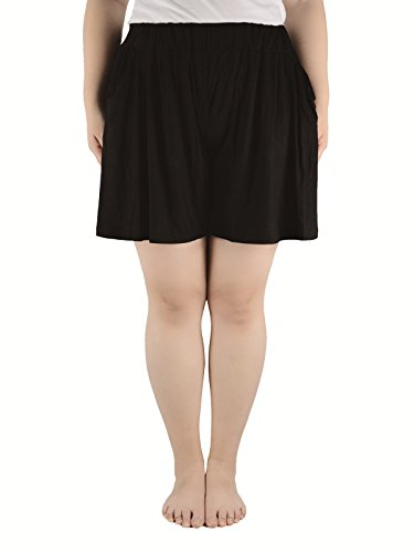 Azue Women's Plus Size Shirring Soft Elastic Waist Cool Leisure Wear Mini Skirted Skorts with Pockets Black 4XL (US Size: 1X Plus-3X Plus)
