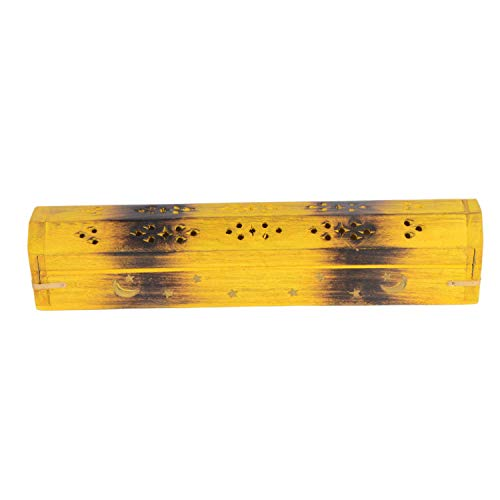 Wooden Coffin Incense Burner - Yellow Star and Moon 12