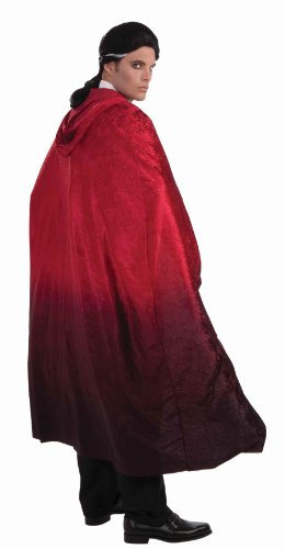 Cape 56 Polyester Costumes (Forum Novelties Men's 56-Inch Long Red Fading Costume Cape, Red, One size)