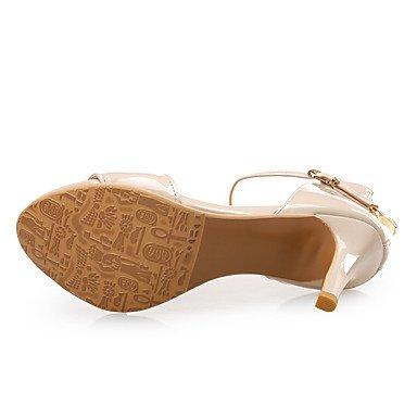 LvYuan Mujer-Tacón Stiletto-Zapatos del club-Sandalias-Boda Vestido Fiesta y Noche-Cuero Patentado-Negro Blanco Almendra almond