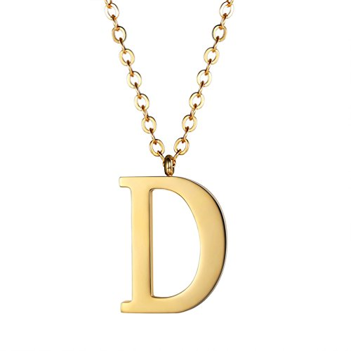 PROSTEEL Initial Letter D Gold Necklace Alphabet Name Jewelry Men Women Personalized Groomsman Bridesmaid Gift 18K Plated Minimalist Letter Men's Women's Necklace ()