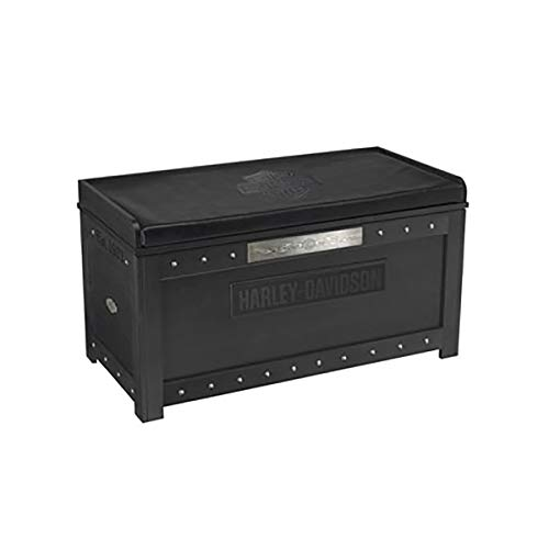 Harley-Davidson Bar & Shield Flames Storage Bench - Vintage Black Finish ()