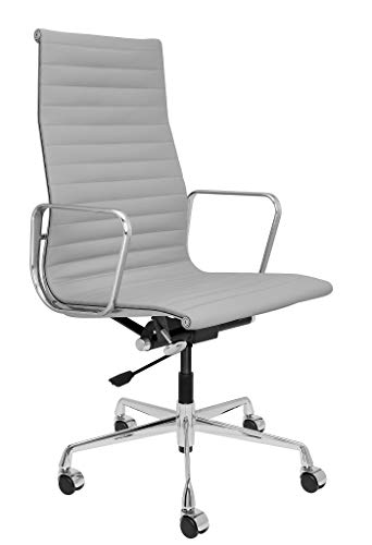 SOHO Premier Tall Back Management Chair – Adjustable, Modern Italian Leather with Armrests Grey