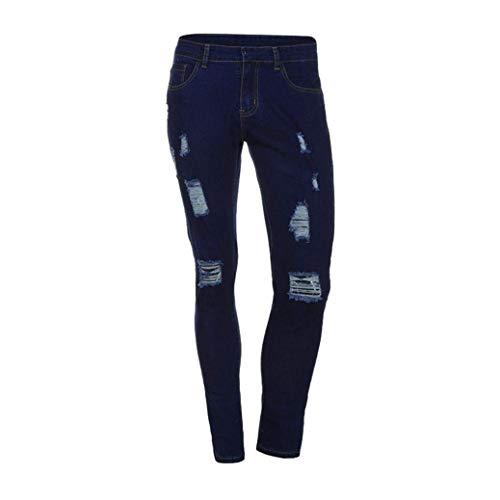 Fit Casual Slim Cracks Strappato Ragazzi Pantaloni Denim Dunkelblau Classiche Jeans Biker Skinny Stretchy Fori Cher Pants R Uomo Rt 4BRIgq