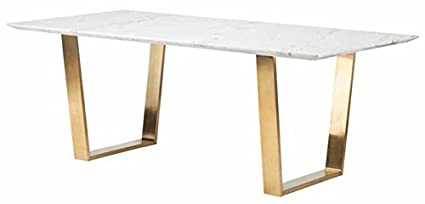 Exceptional 79u0026quot; Modern White Marble Desk Or Conference Table With Gold Stainless  Steel Legs