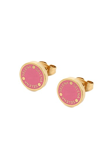 (Selena Jewelry) Enamel Color Disc Stud Earrings With Logo Coin Shaped Solid Yellow Gold Rose Pink (Deluxe Package)