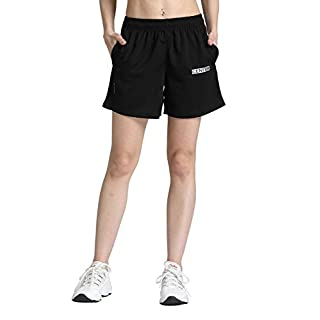 "CENFOR Women's 5"" Quick Dry Workout Running Shorts with Pockets for Gym, Training, Jogging and Leisure (Black, M)"
