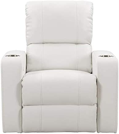 : CorLiving White Leather Gel Home Theater Single