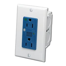 Leviton 47605-ACS J-Box Surge Protective Kit, Single AC Power Module 3 Provides 2 Outlets of power Safety Clips protect outlets against dust, dirt and debris Cable knockout on bottom for power service connection